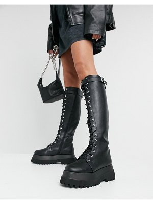 ASOS DESIGN camera chunky lace up knee boots in black