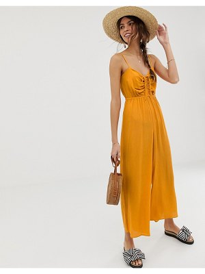 ASOS DESIGN cami jumpsuit with gathered bodice detail-yellow