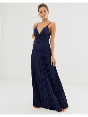 ASOS DESIGN cami maxi dress with pleat skirt and knot bodice-navy
