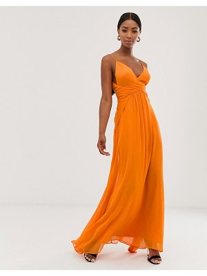 ASOS DESIGN cami maxi dress with soft layered skirt and ruched bodice-orange
