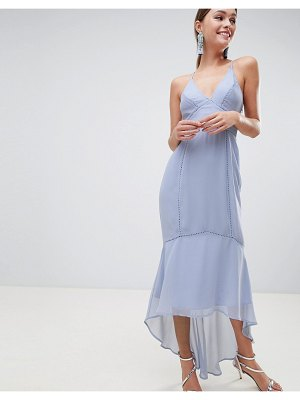 ASOS DESIGN cami midi dress with lace inserts-blue
