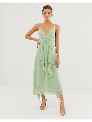 ASOS DESIGN cami midi dress with soft layered skirt and ruched bodice-green