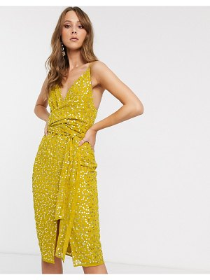 ASOS DESIGN cami midi dress with wrap waist in scatter sequin-yellow