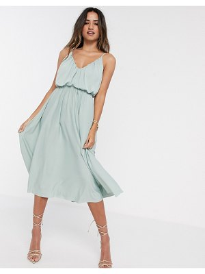 ASOS DESIGN cami plunge midi dress with blouson top in sage green