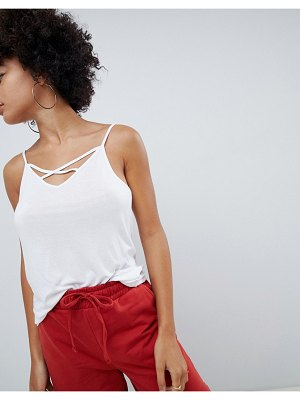 ASOS DESIGN cami with caging detail in white