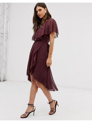 ASOS DESIGN cape back dipped hem midi dress-purple