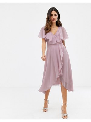 ASOS DESIGN cape back dipped hem midi dress-pink