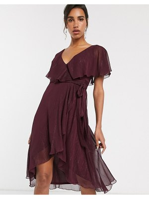 ASOS DESIGN cape back dipped hem midi dress in metallic stripe-purple