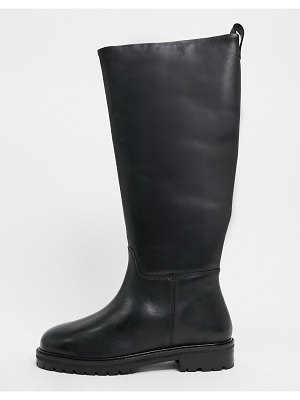 ASOS DESIGN cassandra leather pull on knee boots in black