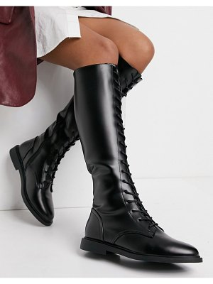 ASOS DESIGN cassie dressy lace up knee boots in black