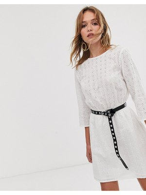 ASOS DESIGN casual elasticated mini dress in broderie-white