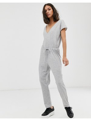 ASOS DESIGN casual v neck jumpsuit with tie waist