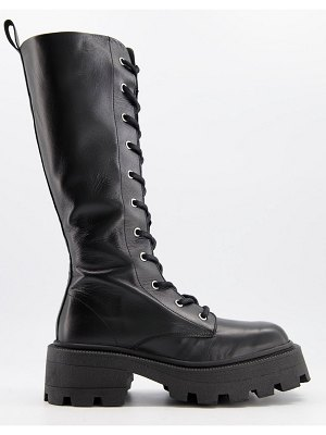 ASOS DESIGN celina leather square toe lace up knee boots in black