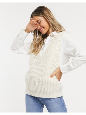 ASOS DESIGN chunky knitted tank in oatmeal-beige