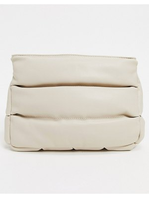 ASOS DESIGN clean clutch bag in off white quilted puff-beige