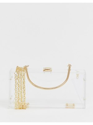ASOS DESIGN luxe clear plastic clutch bag with metal handle