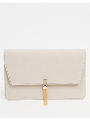 ASOS DESIGN clutch with tab & tassel in cream