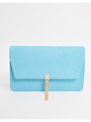 ASOS DESIGN clutch with tab & tassel in cyan blue