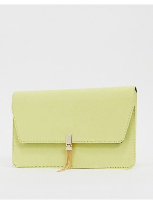 ASOS DESIGN clutch with tab & tassel in lemon-yellow
