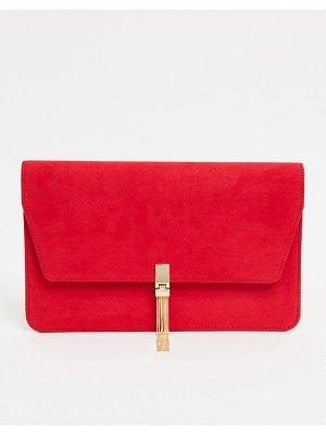 ASOS DESIGN clutch with tab & tassel in red