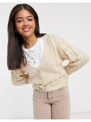 ASOS DESIGN co-ord cable cardigan in oatmeal-beige