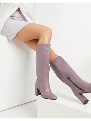 ASOS DESIGN comet leather pull-on boots in lilac-purple