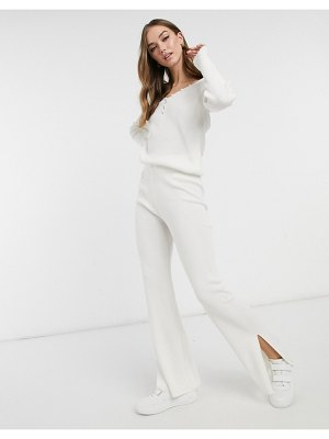ASOS DESIGN coordinating knitted wide leg pants with split detail in cream