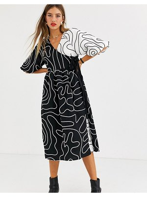 ASOS DESIGN copenhagen embroidered wrap midi dress with puff sleeves and grosgrain ties-multi