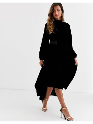 ASOS DESIGN copenhagen velvet high neck midi dress with blouson sleeve-black