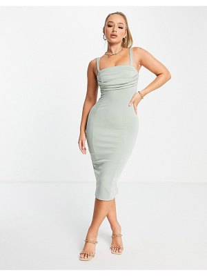 ASOS DESIGN corset pencil midi dress with ruched bust in sage-green