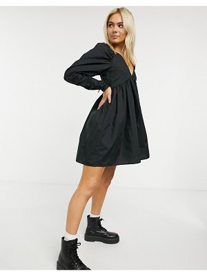 ASOS DESIGN cotton babydoll mini dress in black
