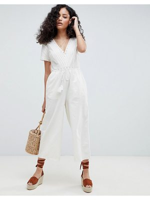 ASOS Cotton Embroidered Jumpsuit With Tassel Trim