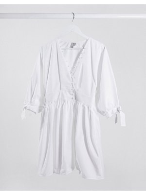 ASOS DESIGN cotton poplin button detail mini smock dress with tie sleeves in white