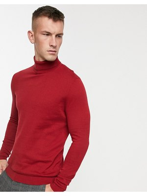 ASOS DESIGN cotton roll neck sweater in chilli red