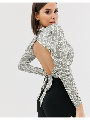 ASOS DESIGN cowl neck long sleeve backless top in animal