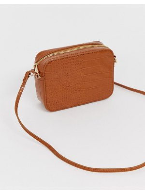 ASOS DESIGN croc effect cross body camera bag-tan