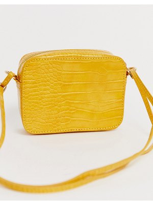 ASOS DESIGN croc effect cross body camera bag-yellow