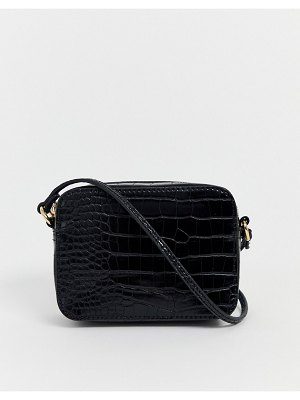 ASOS DESIGN croc effect cross body camera bag-black