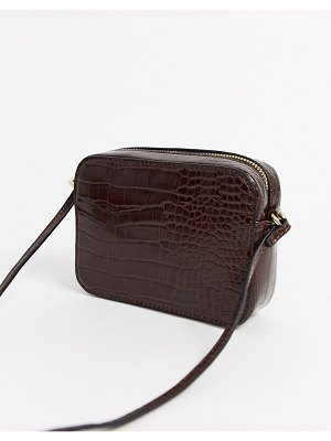 ASOS DESIGN croc effect cross body camera bag-brown