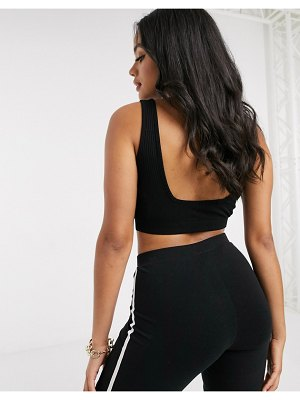 ASOS DESIGN crop cami with square neck and low back in black