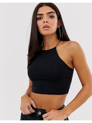 ASOS DESIGN crop top with high neck and skinny straps in black