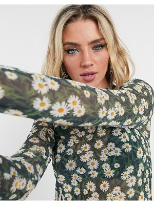 ASOS DESIGN cropped mesh long sleeve top in daisy ditsy-multi