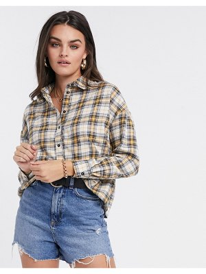ASOS DESIGN cropped shirt in cream and yellow check-multi