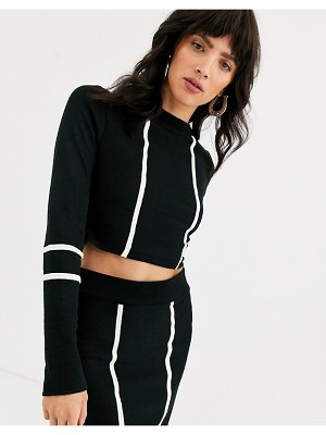 ASOS DESIGN cropped two-piece sweater with tipping detail-multi