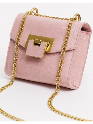 ASOS DESIGN cross body bag with shoulder strap in blush croc with hardware detail-pink