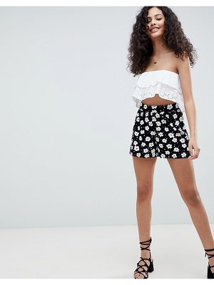 ASOS culotte shorts in mono floral print