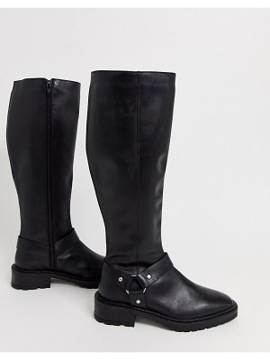 ASOS DESIGN curious leather chunky knee high boots in black