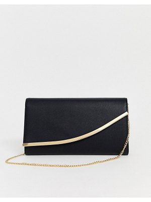 ASOS DESIGN curved bar clutch bag with detachable chain strap-black