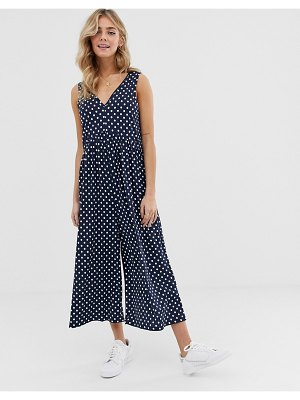 ASOS DESIGN curved smock jumpsuit in polka dot-multi