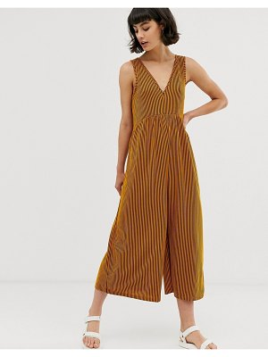 ASOS DESIGN curved smock jumpsuit in orange stripe-multi